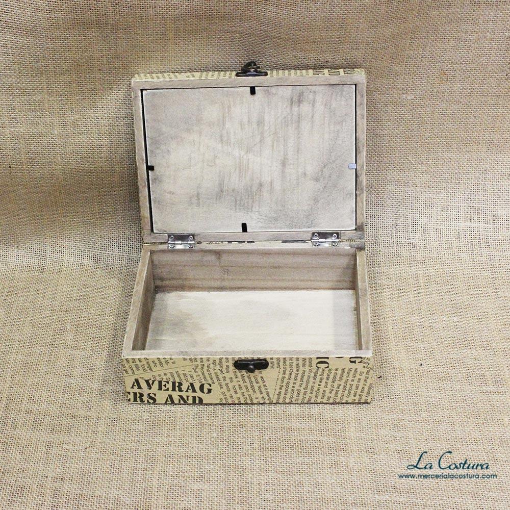 Caja de madera rectangular peque a mercer a la costura for Cajas de madera pequenas