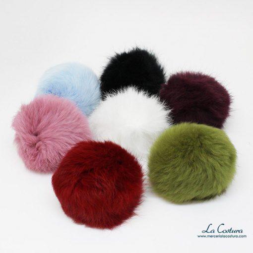 Pompones de colores de pelo de conejo