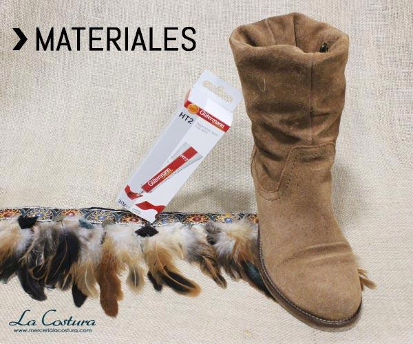 cubrebotas-plumas-pasamaneria-materiales