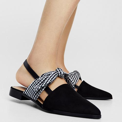Lazo cuadro vichy en zapato plano