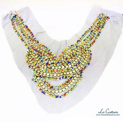Pechera abalorios multicolor