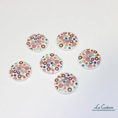 Botón estampado flores multicolor