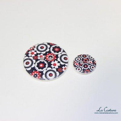 Botón estampado de flores negras y rojas