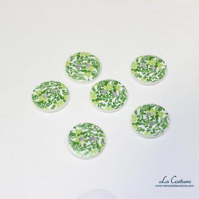 Botón estampado flores verdes