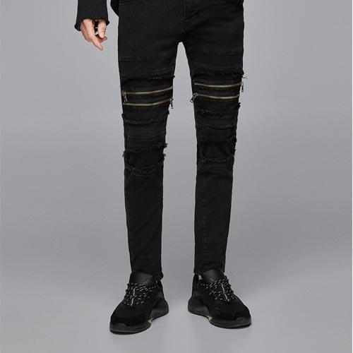Jeans hombre con cremalleras en rodillas