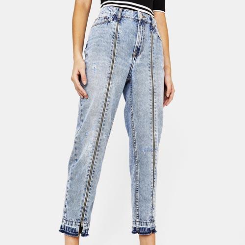 Jeans mujer con cremalleras