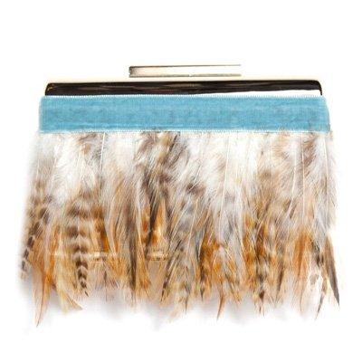 Clutch con plumas y terciopelo