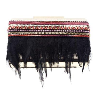 Bolso de mano con plumas y pasamanería