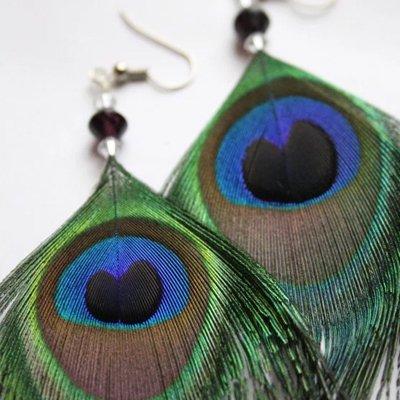 Pendientes de pluma de pavo real