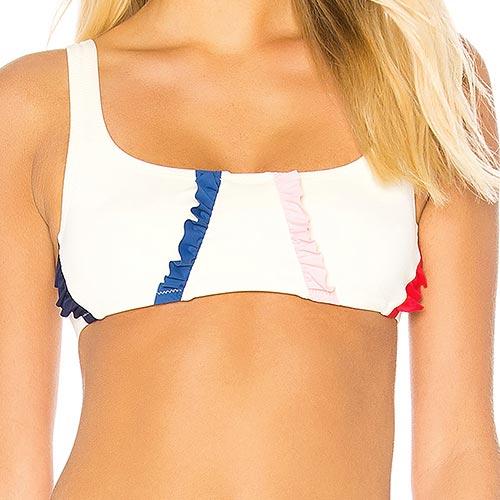 Bikini deportivo con plisado de colores