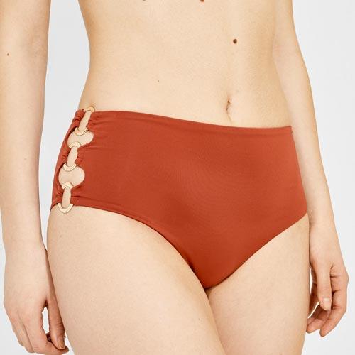 Braguita de bikini de tiro alto con anillas en los laterales