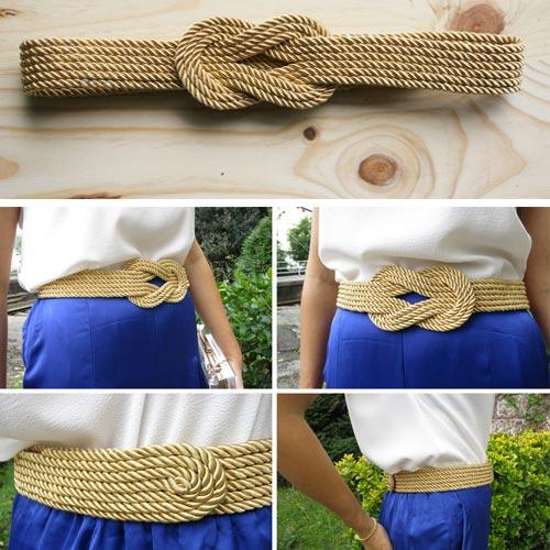 Cinturón de cordón de seda dorado