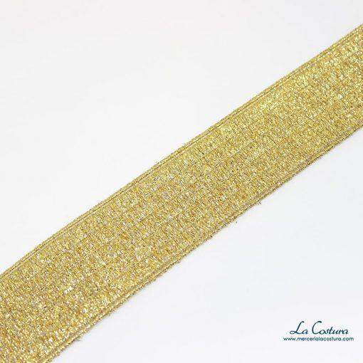 Goma metalizada de 4 cm dorada