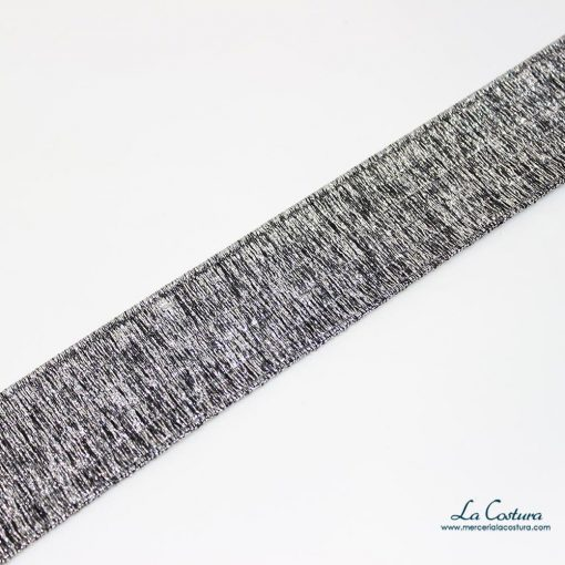 Goma metalizada de 4 cm plateada