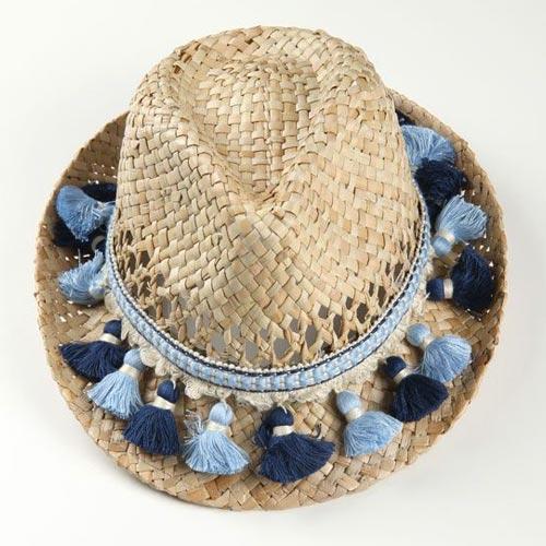 Sombrero de paja con fleco con borlones