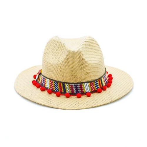 Sombrero playa con tapacosturas étnico y madroños