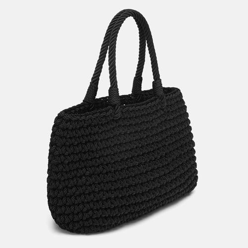 Bolso cesta con asa de cordón trenzado