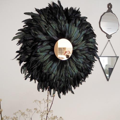 Espejo de pared estilo juju hat con plumas
