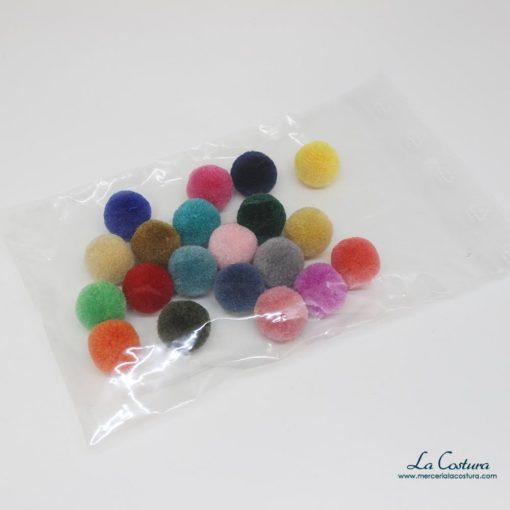 Bolsa de pompones de lana pequeños de colores