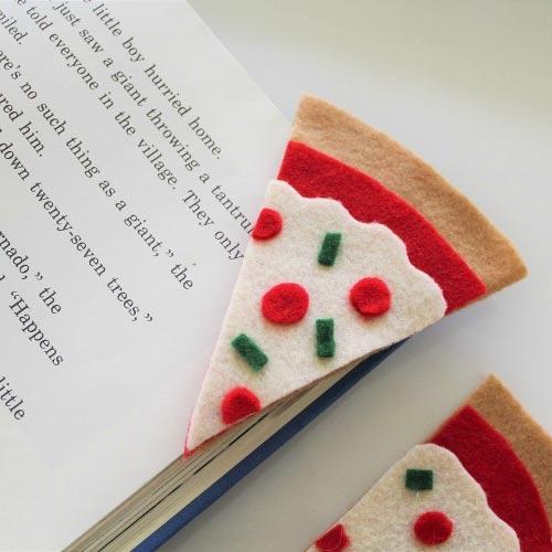 Marcador forma pizza de fieltro