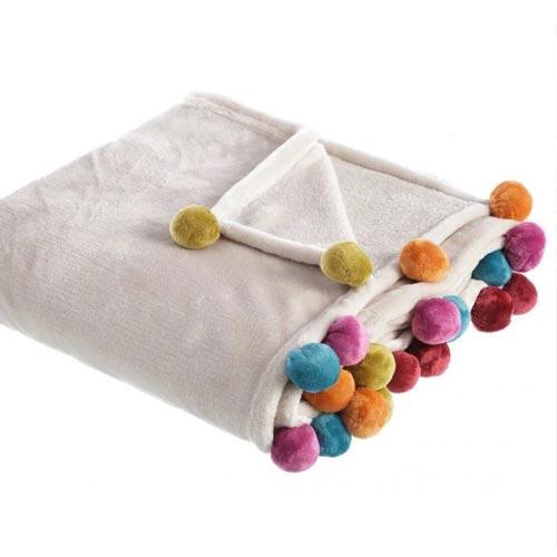 Manta con pompones multicolor