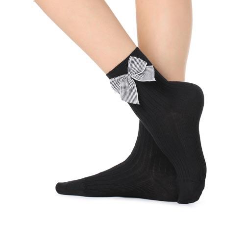 Calcetines con adorno de lazada de cuadro vichy