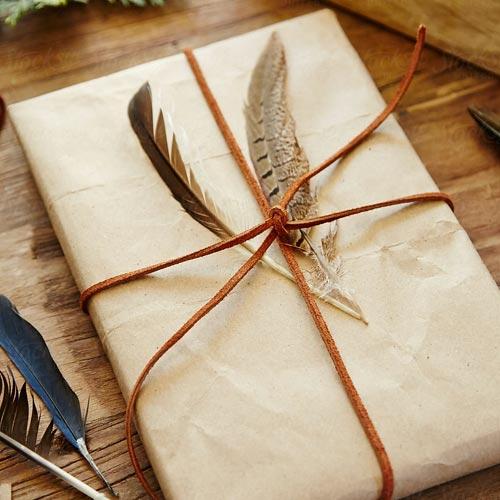 Envoltorio para regalo con plumas y cordón de cuero