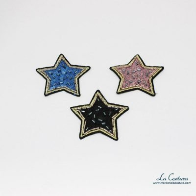 Aplique estrella lentejuelas y abalorios