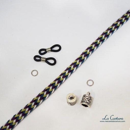 kit-cuelga-gafas-cordon-algodon-trenzado-verde-detalle